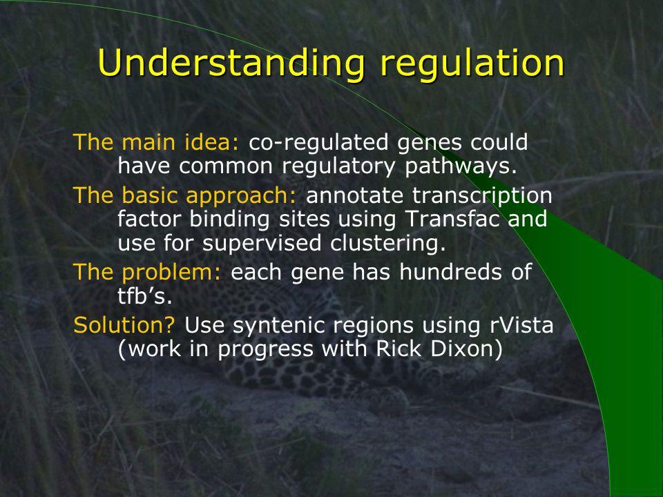 Understanding regulation The main idea: co-regulated genes could have common regulatory pathways.