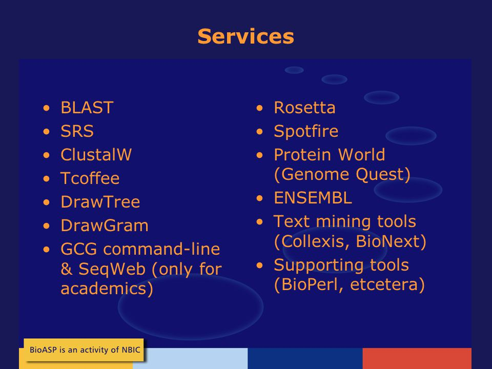 Services BLAST SRS ClustalW Tcoffee DrawTree DrawGram GCG command-line & SeqWeb (only for academics) Rosetta Spotfire Protein World (Genome Quest) ENSEMBL Text mining tools (Collexis, BioNext) Supporting tools (BioPerl, etcetera)