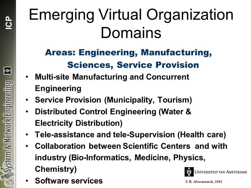 ICP Emerging Virtual Organization Domains Areas: Engineering, Manufacturing, Sciences, Service Provision Multi-site Manufacturing and Concurrent Engin
