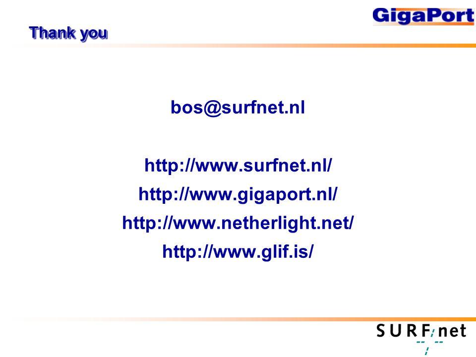 Thank you bos@surfnet.nl http://www.surfnet.nl/ http://www.gigaport.nl/ http://www.netherlight.net/ http://www.glif.is/