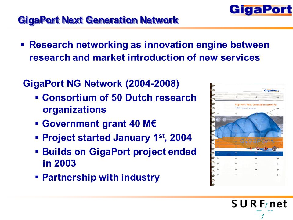 GigaPort Next Generation Network  Research networking as innovation engine between research and market introduction of new services GigaPort NG Network ( )  Consortium of 50 Dutch research organizations  Government grant 40 M€  Project started January 1 st, 2004  Builds on GigaPort project ended in 2003  Partnership with industry