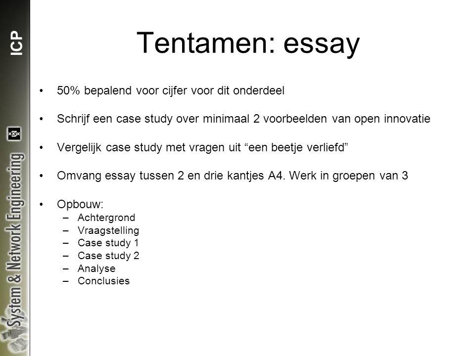ICP Tentamen: essay 50% bepalend voor cijfer voor dit onderdeel Schrijf een case study over minimaal 2 voorbeelden van open innovatie Vergelijk case study met vragen uit een beetje verliefd Omvang essay tussen 2 en drie kantjes A4.