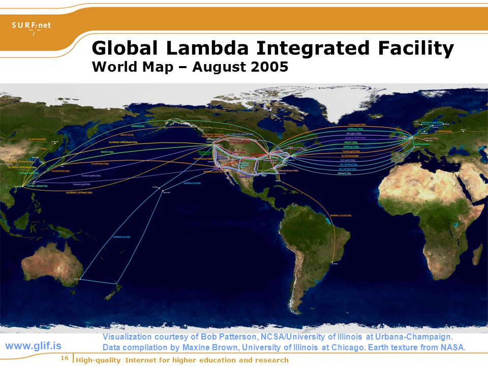 High-quality Internet for higher education and research 16 Global Lambda Integrated Facility World Map – August 2005 www.glif.is Visualization courtes