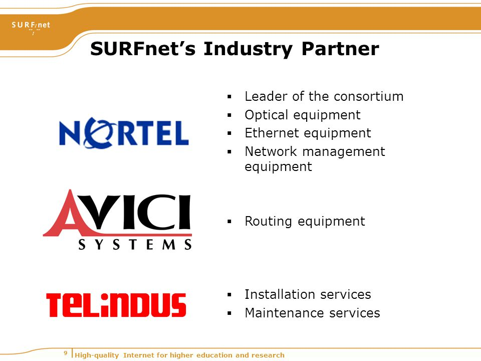 High-quality Internet for higher education and research 9 SURFnet's Industry Partner  Leader of the consortium  Optical equipment  Ethernet equipme