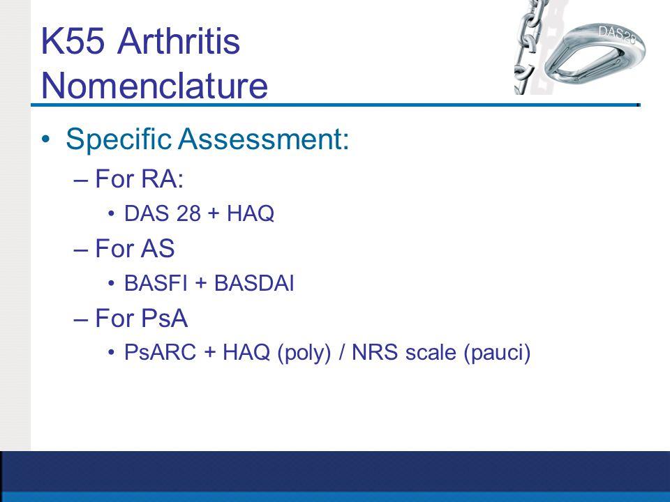 K55 Arthritis Nomenclature Specific Assessment: –For RA: DAS 28 + HAQ –For AS BASFI + BASDAI –For PsA PsARC + HAQ (poly) / NRS scale (pauci)