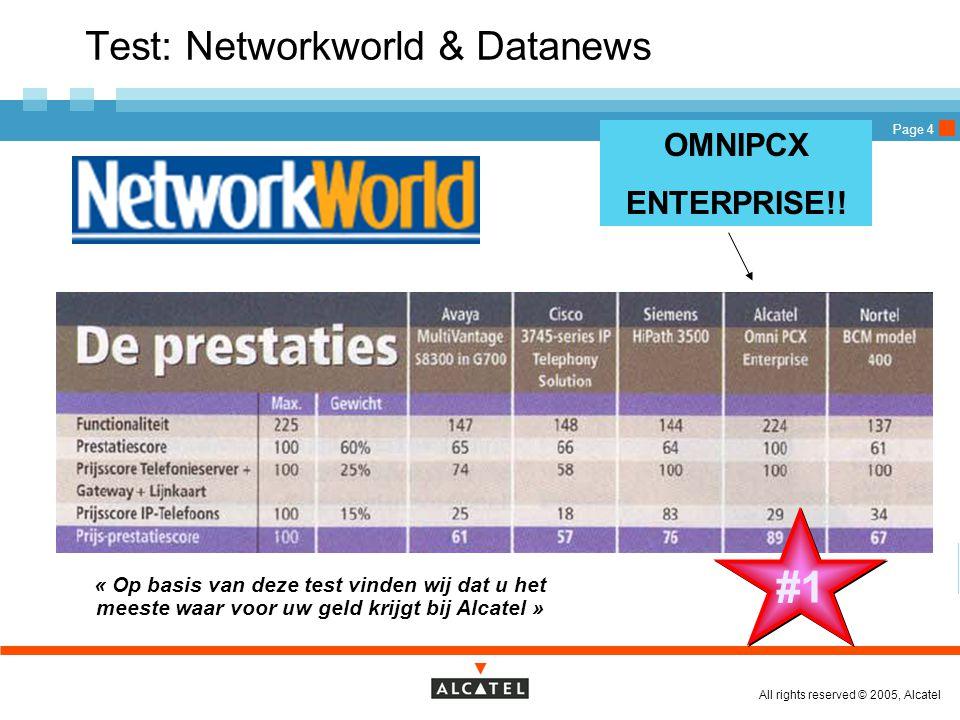 All rights reserved © 2005, Alcatel Page 4 « Op basis van deze test vinden wij dat u het meeste waar voor uw geld krijgt bij Alcatel » #1 Test: Networ