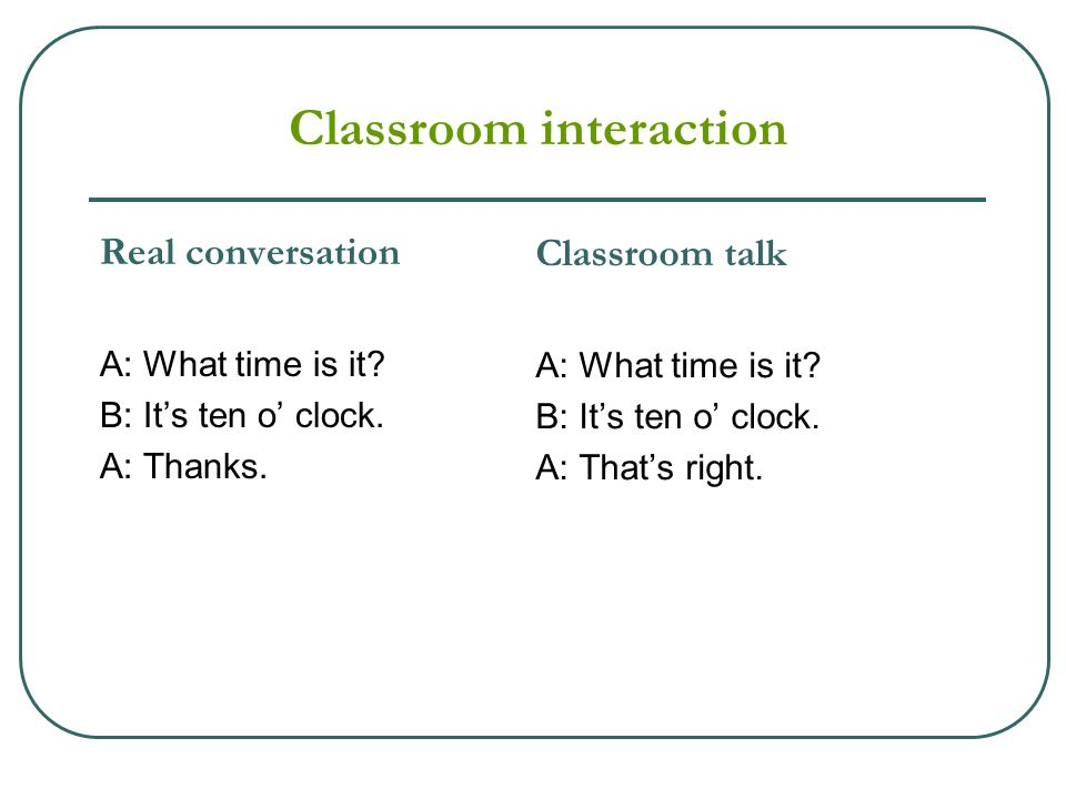 Classroom interaction Real conversation A: What time is it? B: It's ten o' clock. A: Thanks. Classroom talk A: What time is it? B: It's ten o' clock.
