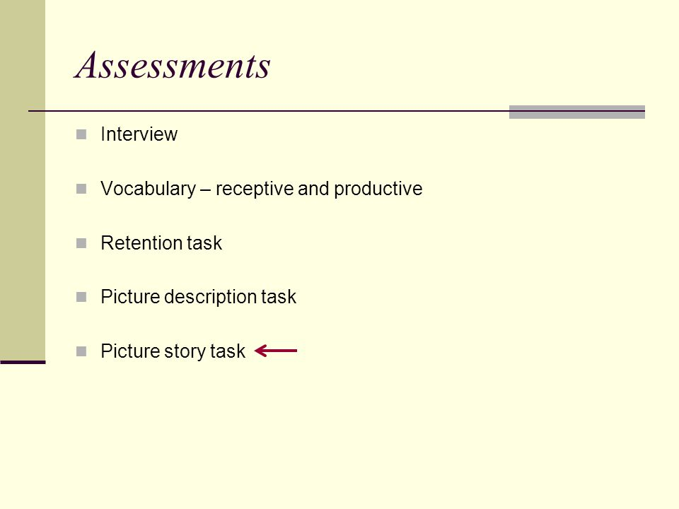Assessments Interview Vocabulary – receptive and productive Retention task Picture description task Picture story task