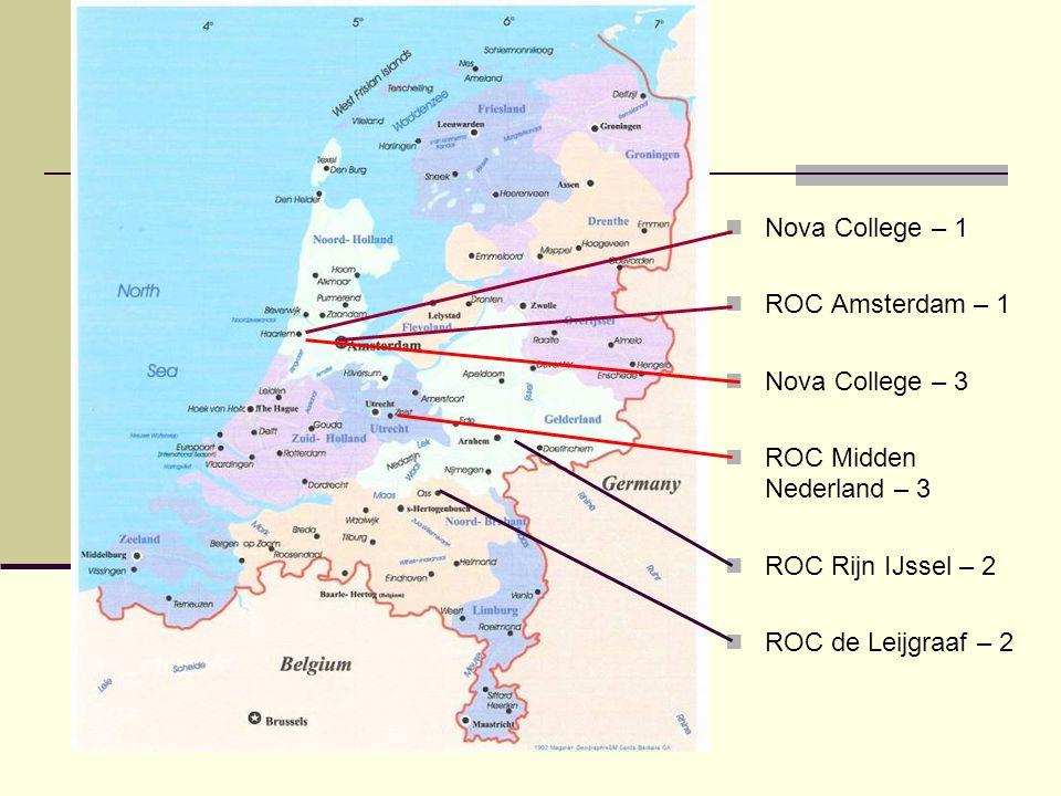 Nova College – 1 ROC Amsterdam – 1 Nova College – 3 ROC Midden Nederland – 3 ROC Rijn IJssel – 2 ROC de Leijgraaf – 2