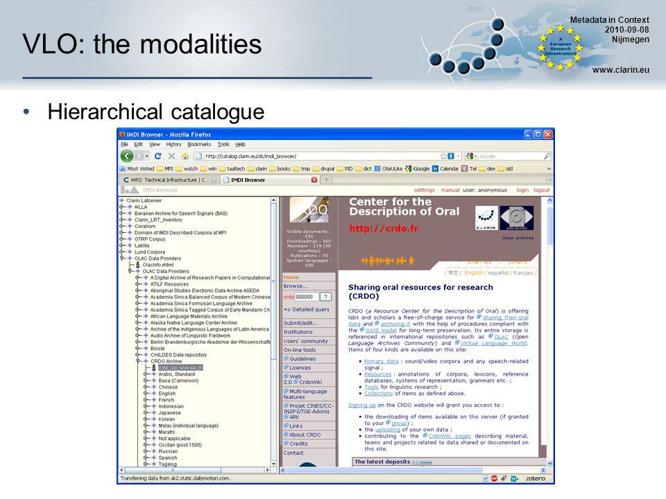 Metadata in Context 2010-09-08 Nijmegen www.clarin.eu VLO: the modalities Hierarchical catalogue