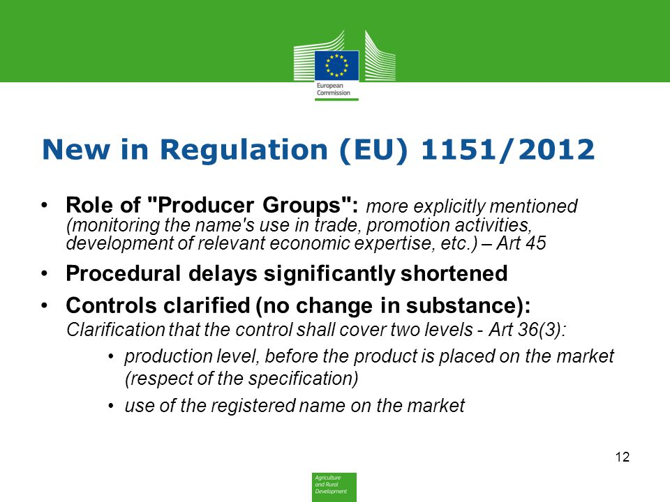 New in Regulation (EU) 1151/2012 Role of