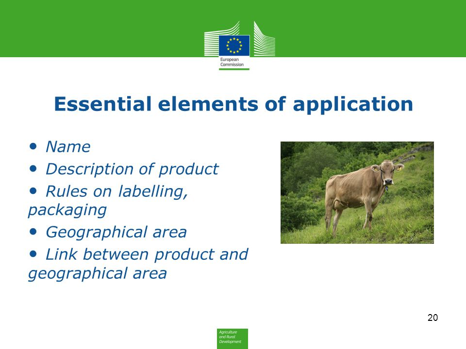Essential elements of application Name Description of product Rules on labelling, packaging Geographical area Link between product and geographical ar