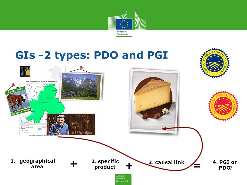 GIs -2 types: PDO and PGI 1.geographical area + + = 2. specific product 3. causal link 4. PGI or PDO 7