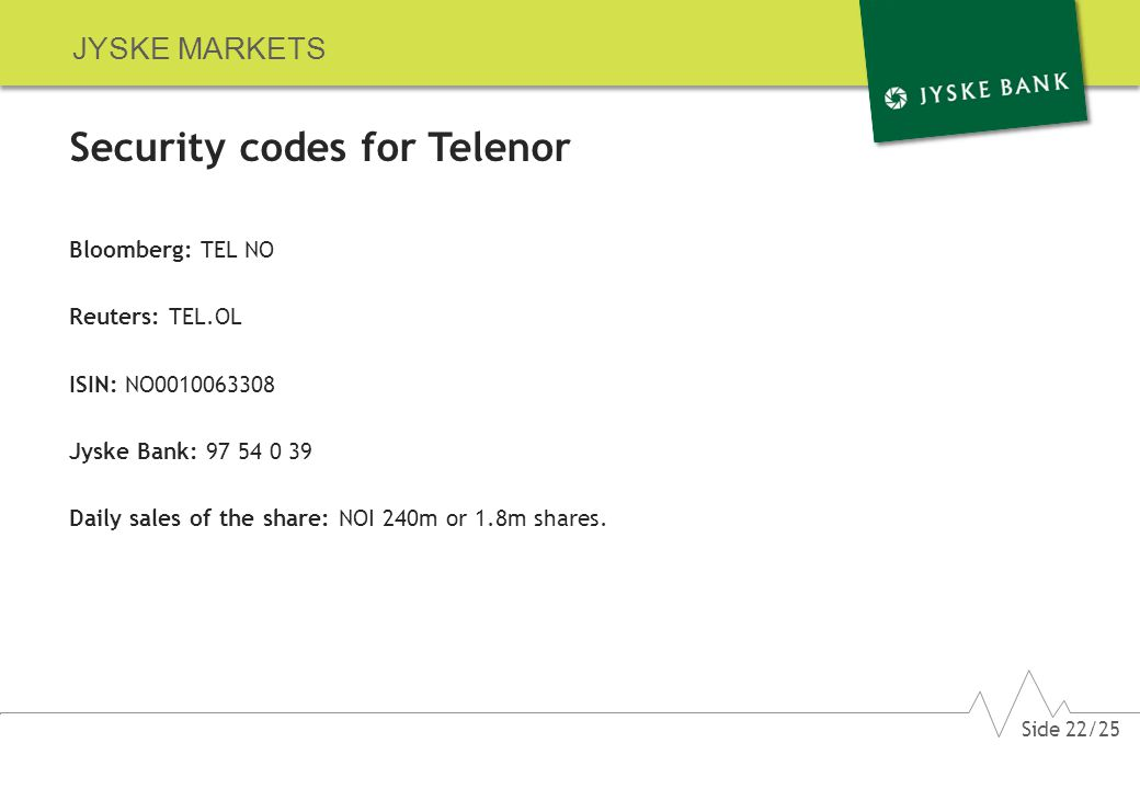 JYSKE MARKETS Security codes for Telenor Bloomberg: TEL NO Reuters: TEL.OL ISIN: NO0010063308 Jyske Bank: 97 54 0 39 Daily sales of the share: NOI 240m or 1.8m shares.