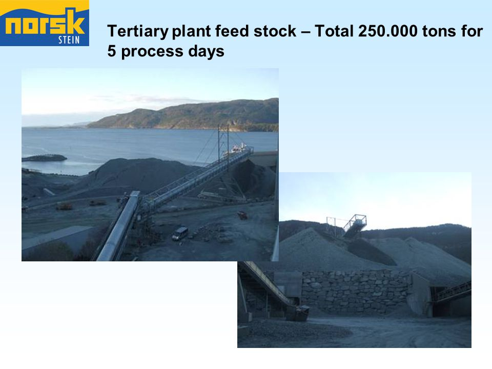 Tertiary plant feed stock – Total tons for 5 process days