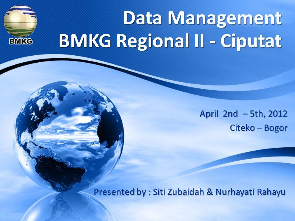 April 2nd – 5th, 2012 Citeko – Bogor Data Management BMKG Regional II - Ciputat Presented by : Siti Zubaidah & Nurhayati Rahayu