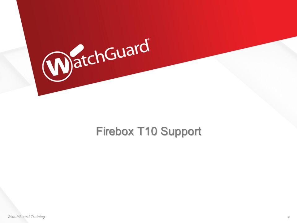 Firebox T10 — Specifications WatchGuard Training 5  Firebox T10 hardware 3 10/100/1000 ports Console port On/Off power switch USB port  Throughput Firewall — 200 Mbps VPN — 30 Mbps AV — 70 Mbps IPS — 80 Mbps UTM — 55 Mbps  VPN Tunnels Branch Office VPN — 5 Mobile VPN IPSec — 5 Mobile VPN SSL/L2TP — 5