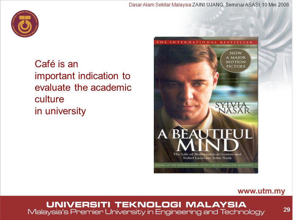 29 Dasar Alam Sekitar Malaysia ZAINI UJANG, Seminar ASASI, 10 Mei 2008 29 Café is an important indication to evaluate the academic culture in university