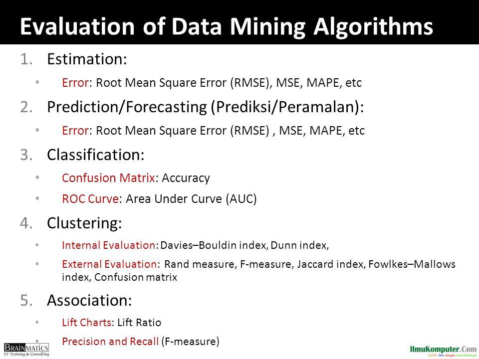 Evaluation of Data Mining Algorithms 1.Estimation: Error: Root Mean Square Error (RMSE), MSE, MAPE, etc 2.Prediction/Forecasting (Prediksi/Peramalan): Error: Root Mean Square Error (RMSE), MSE, MAPE, etc 3.Classification: Confusion Matrix: Accuracy ROC Curve: Area Under Curve (AUC) 4.Clustering: Internal Evaluation: Davies–Bouldin index, Dunn index, External Evaluation: Rand measure, F-measure, Jaccard index, Fowlkes–Mallows index, Confusion matrix 5.Association: Lift Charts: Lift Ratio Precision and Recall (F-measure)