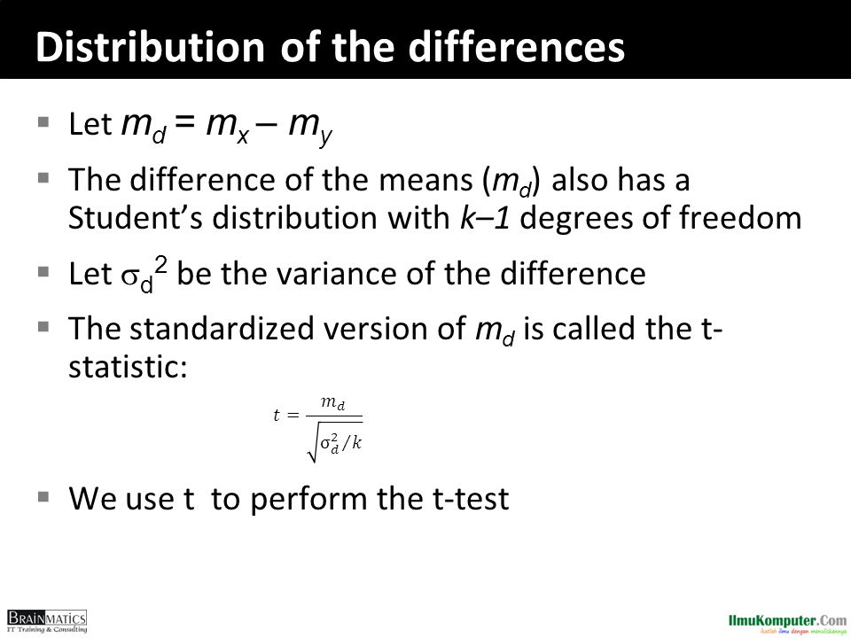 Distribution of the differences  Let m d = m x – m y  The difference of the means ( m d ) also has a Student's distribution with k–1 degrees of free