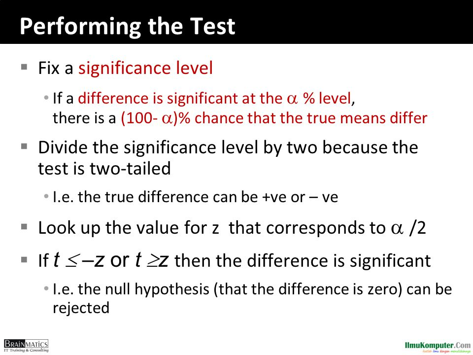 Performing the Test  Fix a significance level If a difference is significant at the  % level, there is a (100-  )% chance that the true means dif