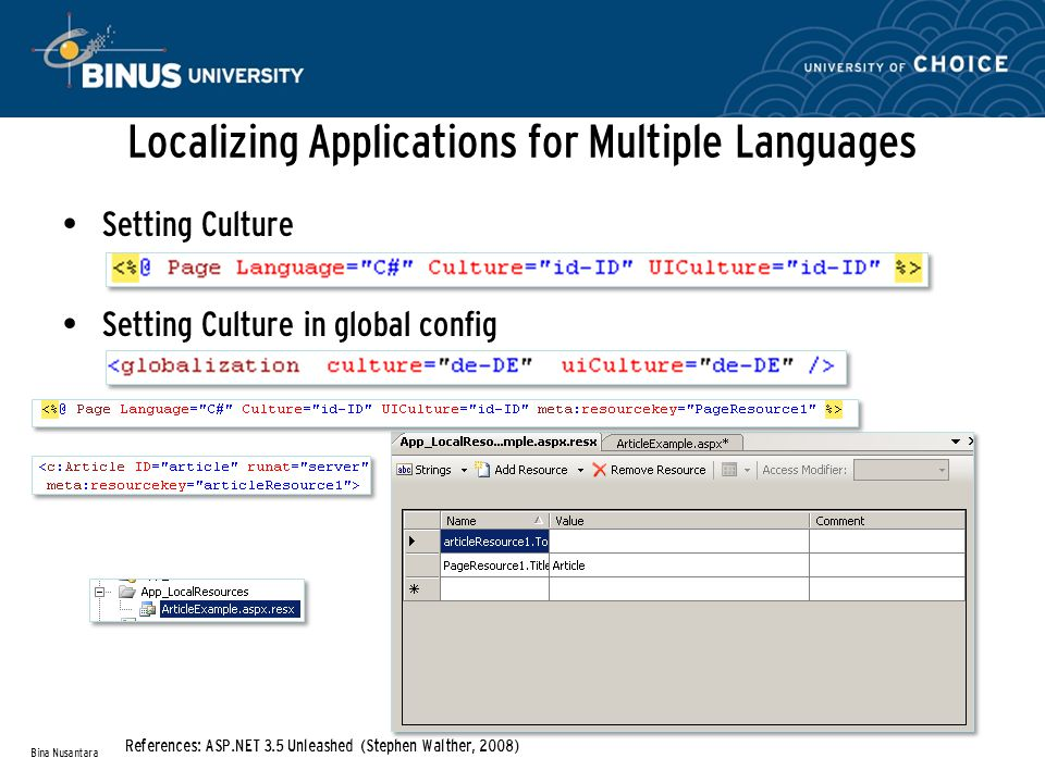Localizing Applications for Multiple Languages Setting Culture Setting Culture in global config Bina Nusantara References: ASP.NET 3.5 Unleashed (Step
