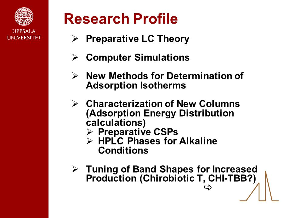 Research Profile  Preparative LC Theory  Computer Simulations  New Methods for Determination of Adsorption Isotherms  Characterization of New Columns (Adsorption Energy Distribution calculations)  Preparative CSPs  HPLC Phases for Alkaline Conditions  Tuning of Band Shapes for Increased Production (Chirobiotic T, CHI-TBB ) 