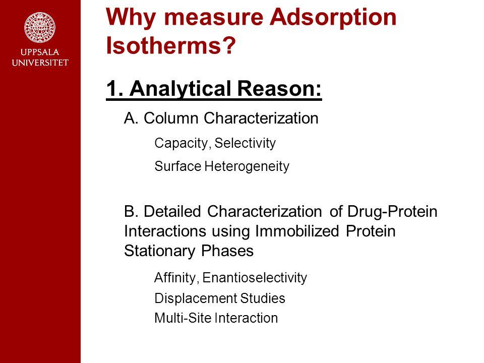 1. Analytical Reason: A. Column Characterization Capacity, Selectivity Surface Heterogeneity B.