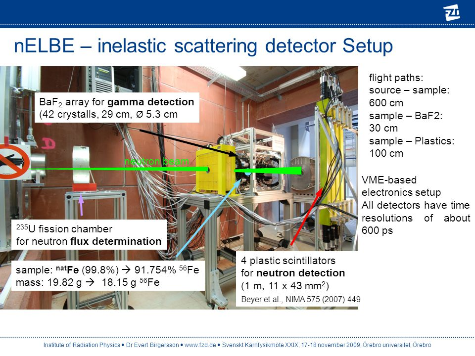 nELBE – inelastic scattering detector Setup 4 plastic scintillators for neutron detection (1 m, 11 x 43 mm 2 ) Beyer et al., NIMA 575 (2007) 449 neutr