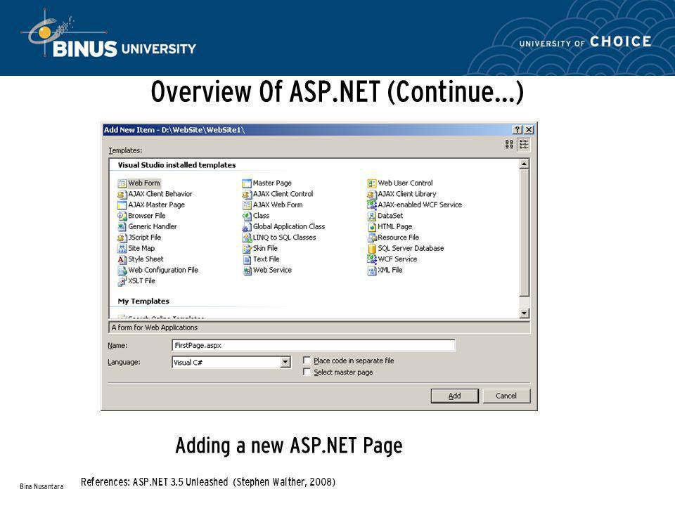 Overview Of ASP.NET (Continue…) Adding a new ASP.NET Page Bina Nusantara References: ASP.NET 3.5 Unleashed (Stephen Walther, 2008)