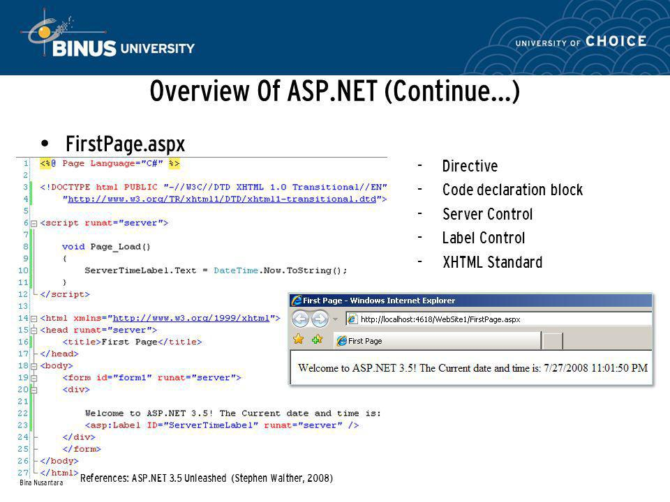 Overview Of ASP.NET (Continue…) FirstPage.aspx Bina Nusantara - Directive - Code declaration block - Server Control - Label Control - XHTML Standard References: ASP.NET 3.5 Unleashed (Stephen Walther, 2008)