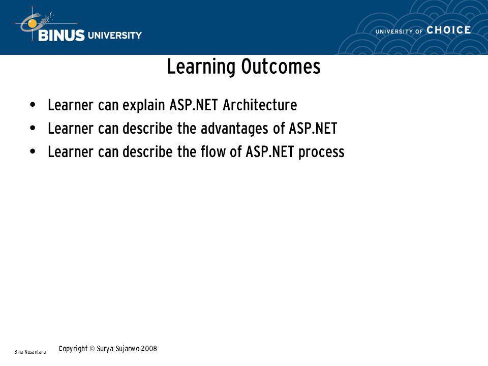 Learning Outcomes Learner can explain ASP.NET Architecture Learner can describe the advantages of ASP.NET Learner can describe the flow of ASP.NET process Bina Nusantara Copyright © Surya Sujarwo 2008