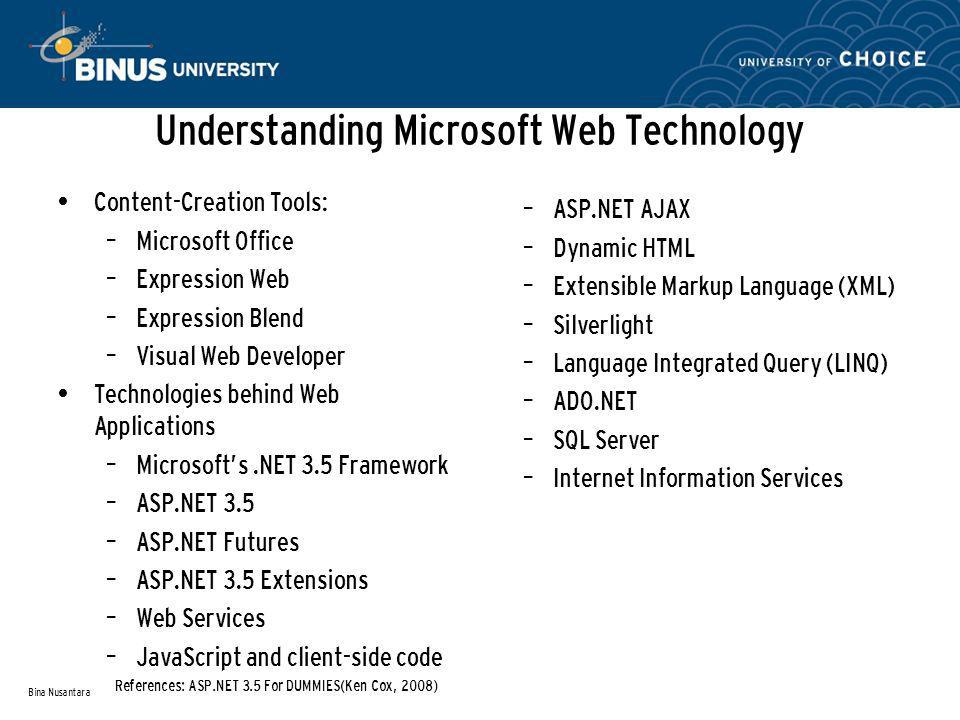 Understanding Microsoft Web Technology Content-Creation Tools: – Microsoft Office – Expression Web – Expression Blend – Visual Web Developer Technologies behind Web Applications – Microsoft's.NET 3.5 Framework – ASP.NET 3.5 – ASP.NET Futures – ASP.NET 3.5 Extensions – Web Services – JavaScript and client-side code Bina Nusantara – ASP.NET AJAX – Dynamic HTML – Extensible Markup Language (XML) – Silverlight – Language Integrated Query (LINQ) – ADO.NET – SQL Server – Internet Information Services References: ASP.NET 3.5 For DUMMIES(Ken Cox, 2008)