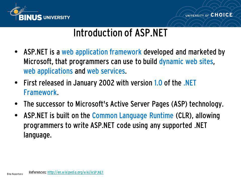 ASP.NET Architecture (Continue…) Bina Nusantara References: http://www.west-wind.com/presentations/howaspnetworks/howaspnetworks.asphttp://www.west-wind.com/presentations/howaspnetworks/howaspnetworks.asp