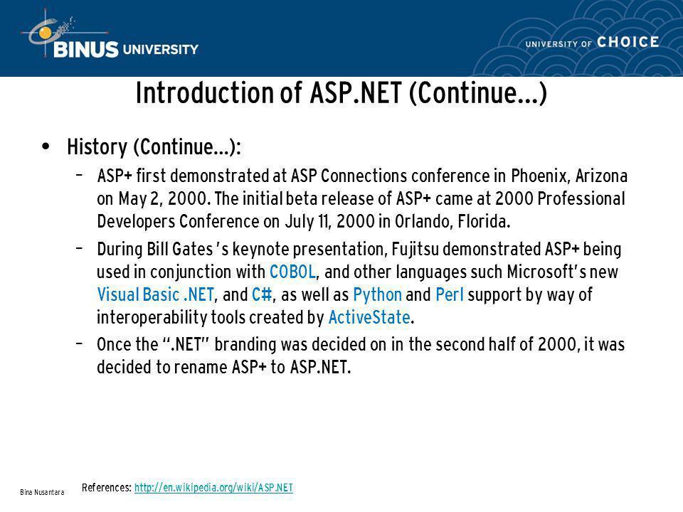 Overview Of ASP.NET (Continue…) Bina Nusantara References: MSDN