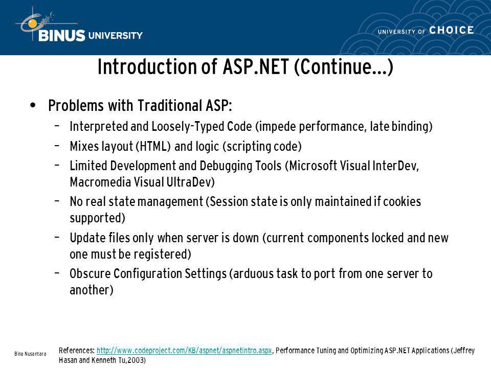 Ten Tips to success with ASP.NET (Continue…) Use the Starter Kits (www.asp.net/community/projects)www.asp.net/community/projects Read the Hottest Blogs (weblogs.asp.net/scottgu/)weblogs.asp.net/scottgu/ Watch the Videos (www.asp.net/learn/)www.asp.net/learn/ Visit the Expert Web Sites Use the Free Tools – Fiddler2 – Internet Explorer Developer Toolbar – Reflector – Web Development Helper Bina Nusantara References: ASP.NET 3.5 For DUMMIES(Ken Cox, 2008) SiteUrl 4GuysFromRollahttp://aspnet.4guysfromrolla.com ASP Alliancehttp://aspalliance.com ASP Freewww.aspfree.com ASP.NET Developer Center http://msdn2.microsoft.com/en- us/asp.net/default.aspx Code Projectwww.codeproject.com CodePlexwww.codeplex.com CSharp Friendswww.csharpfriends.com DotNetBipswww.dotnetbips.com Dotnetjunkieswww.dotnetjunkies.com DotNetSlackershttp://dotnetslackers.com EggHeadCafewww.eggheadcafe.com SingingEelswww.singingeels.com