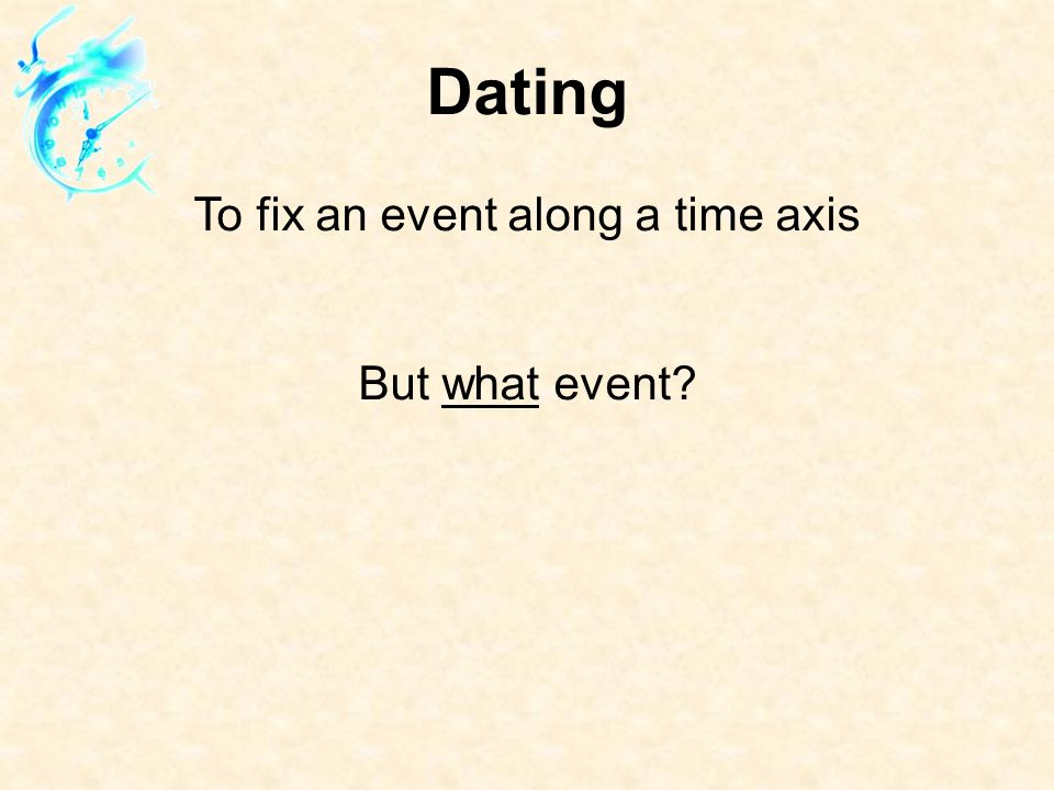 Dating To fix an event along a time axis But what event