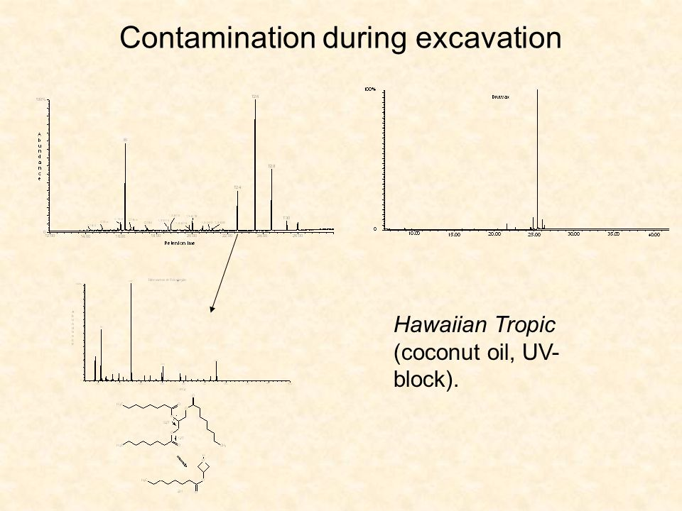 Contamination during excavation Hawaiian Tropic (coconut oil, UV- block).