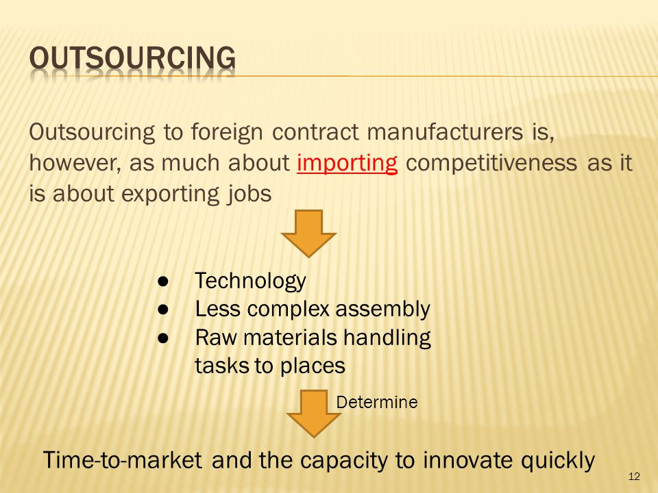 Outsourcing to foreign contract manufacturers is, however, as much about importing competitiveness as it is about exporting jobs ● Technology ● Less complex assembly ● Raw materials handling tasks to places Time-to-market and the capacity to innovate quickly Determine 12