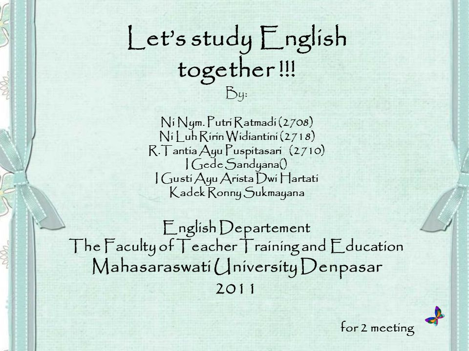 Let's study English together !!.By: Ni Nym.