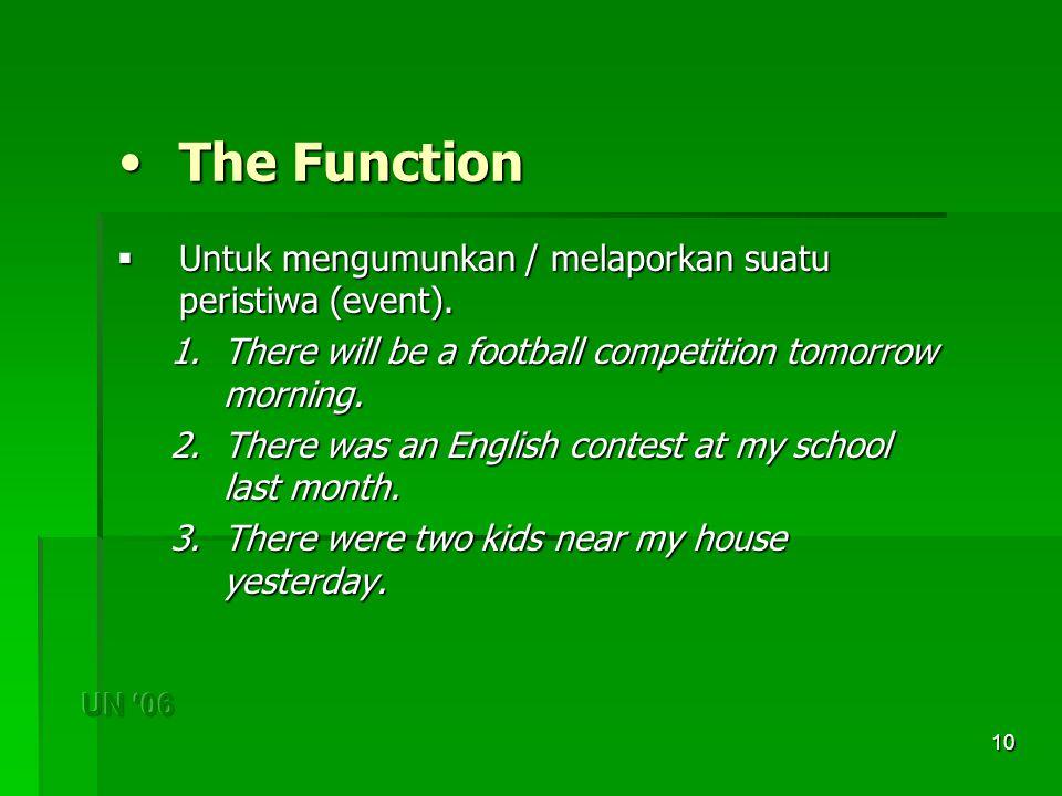 10 The Function The Function  Untuk mengumunkan / melaporkan suatu peristiwa (event).
