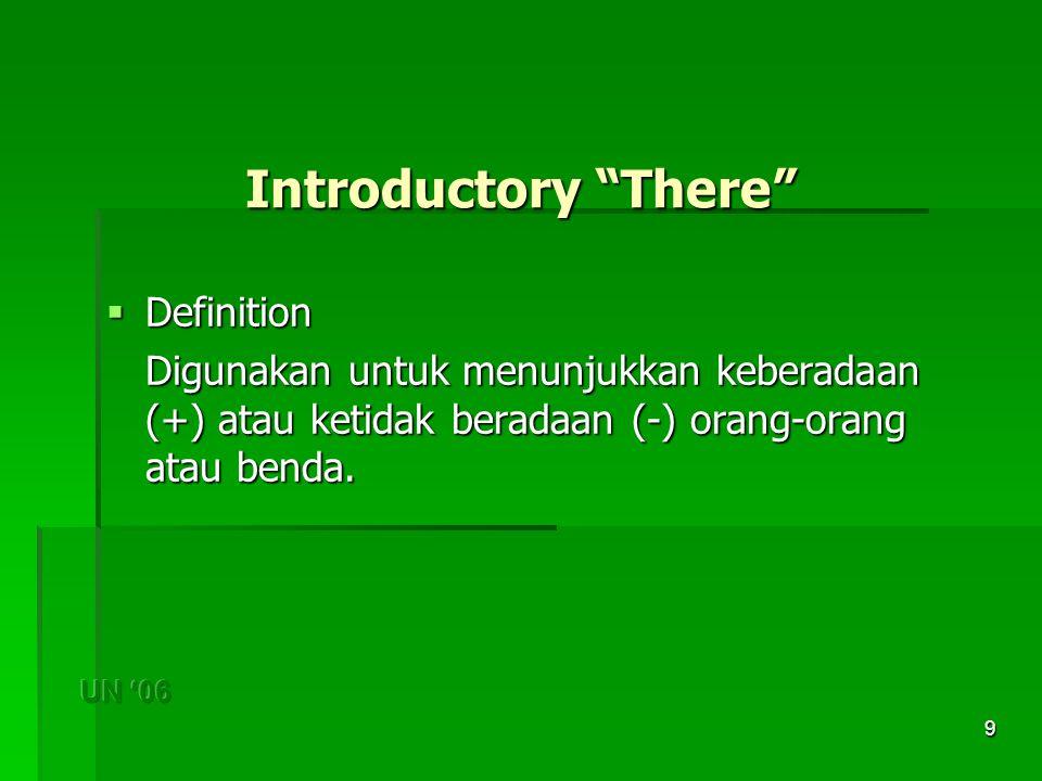 9 Introductory There  Definition Digunakan untuk menunjukkan keberadaan (+) atau ketidak beradaan (-) orang-orang atau benda.