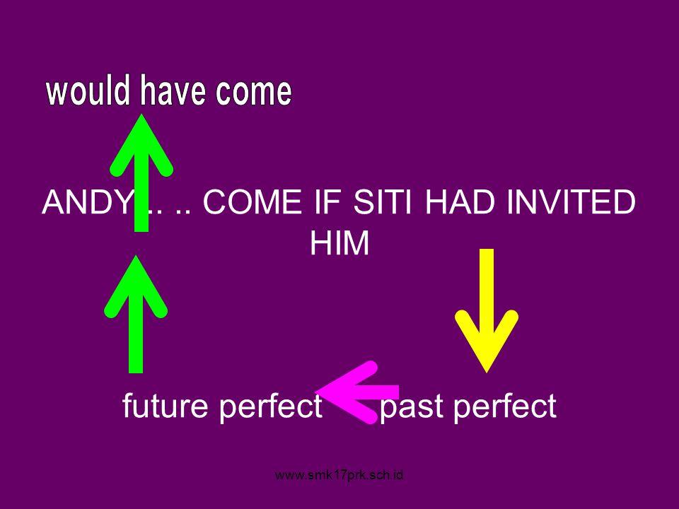 www.smk17prk.sch.id ANDY.... COME IF SITI HAD INVITED HIM future perfect past perfect