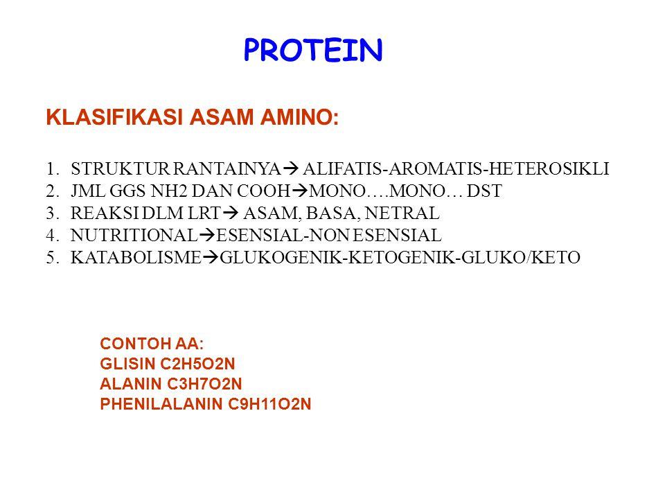 PROTEIN KLASIFIKASI ASAM AMINO: 1.STRUKTUR RANTAINYA  ALIFATIS-AROMATIS-HETEROSIKLI 2.JML GGS NH2 DAN COOH  MONO….MONO… DST 3.REAKSI DLM LRT  ASAM,