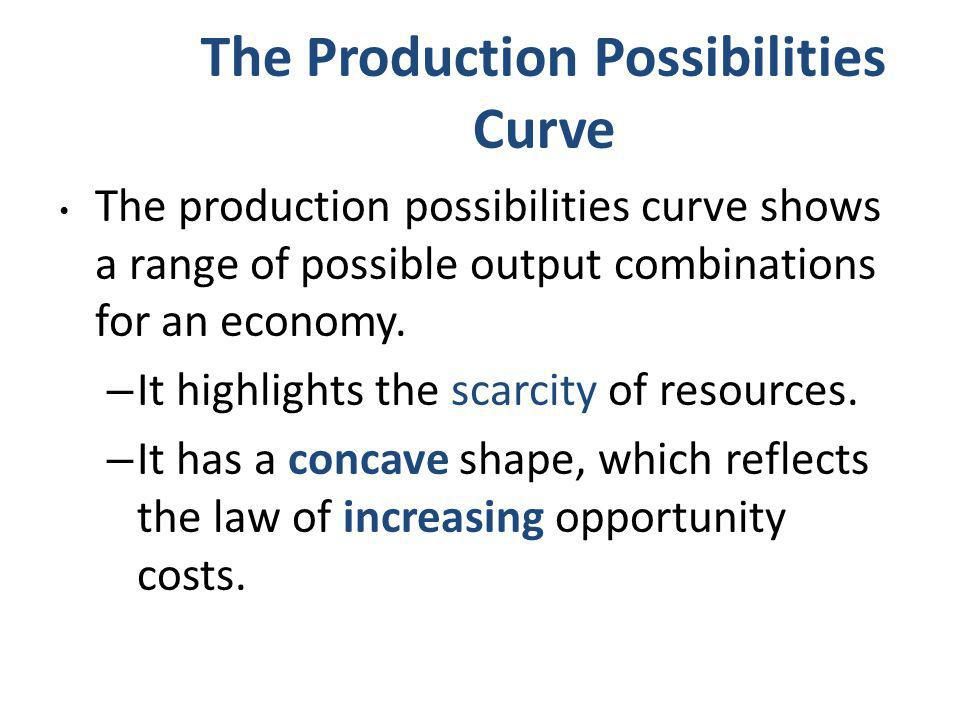 The Production Possibilities Curve The production possibilities curve shows a range of possible output combinations for an economy. – It highlights th