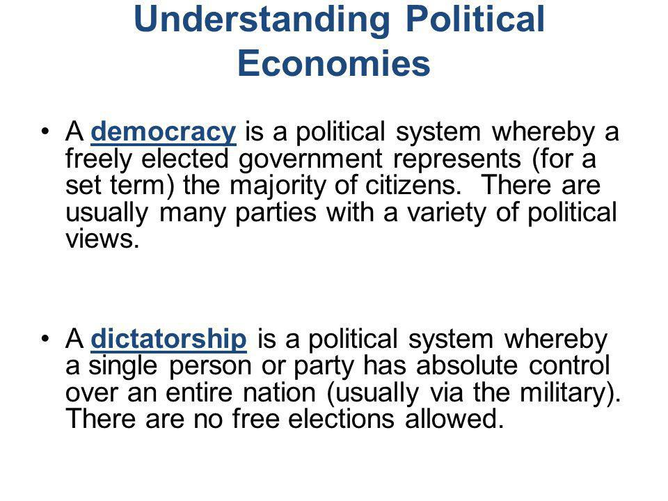 Understanding Political Economies A democracy is a political system whereby a freely elected government represents (for a set term) the majority of ci