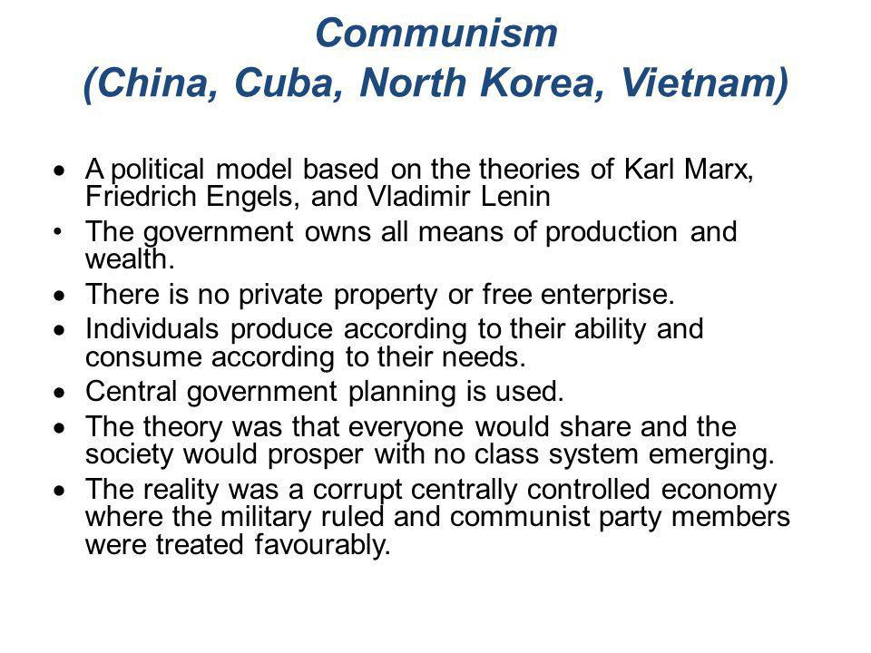 Communism (China, Cuba, North Korea, Vietnam)  A political model based on the theories of Karl Marx, Friedrich Engels, and Vladimir Lenin The governm