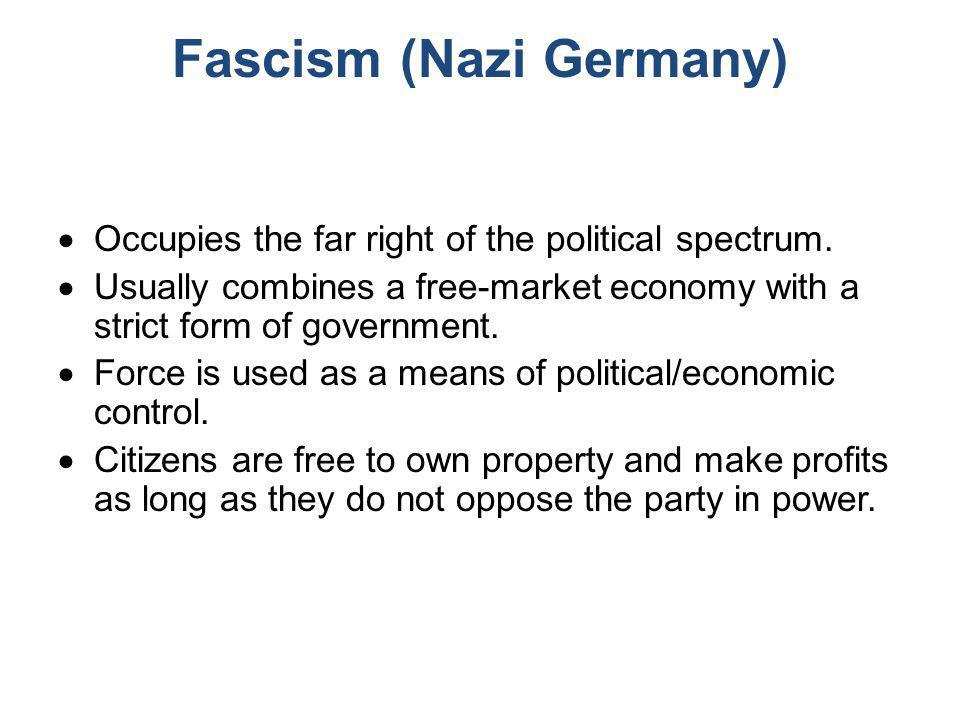 Fascism (Nazi Germany)  Occupies the far right of the political spectrum.  Usually combines a free-market economy with a strict form of government.
