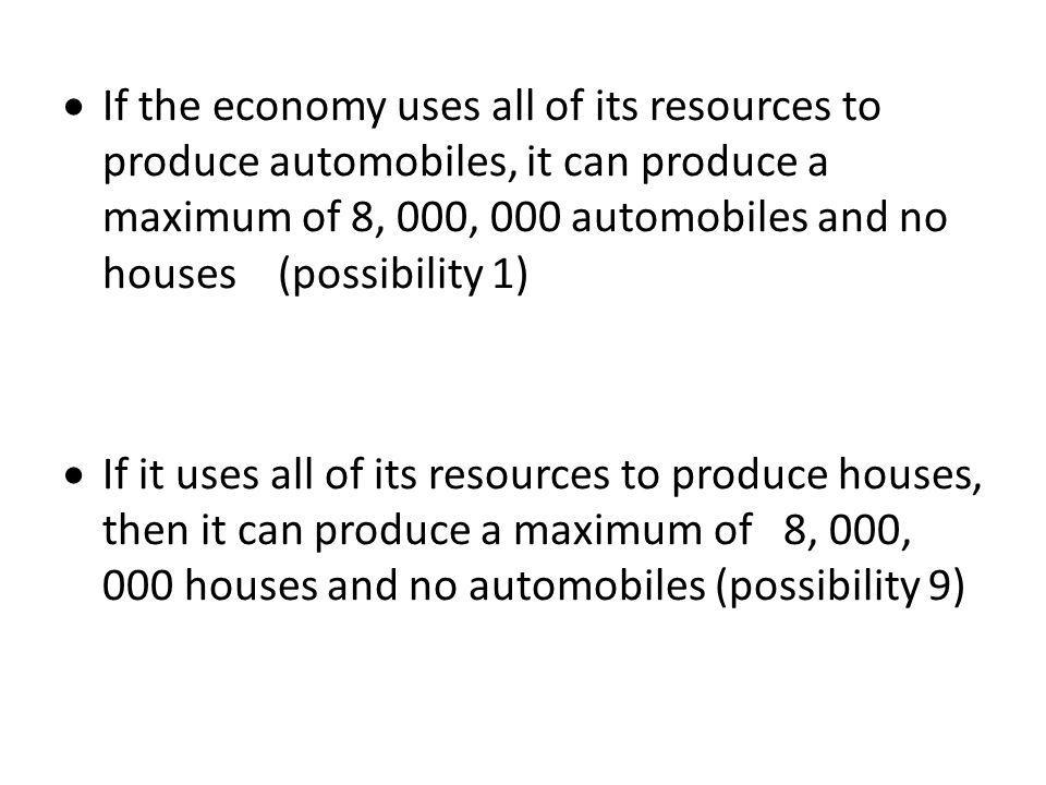  If the economy uses all of its resources to produce automobiles, it can produce a maximum of 8, 000, 000 automobiles and no houses (possibility 1) 
