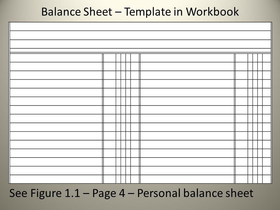 Balance Sheet – Template in Workbook See Figure 1.1 – Page 4 – Personal balance sheet